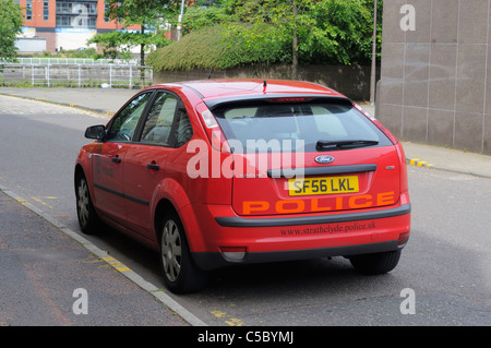 Glasgow : June 2011, An Unmarked Red Ford Focus Strathclyde Police Car In Glasgow Scotland, June 2011 - Stock Photo