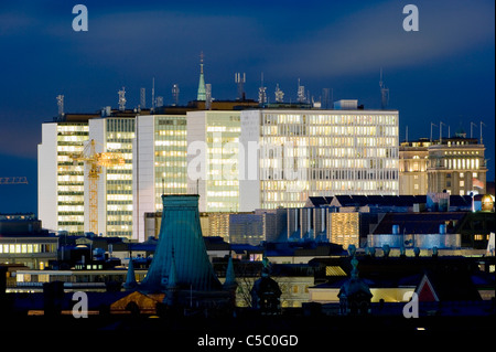 View of Hötorget city against the sky at night, Stockholm, Sweden - Stock Photo