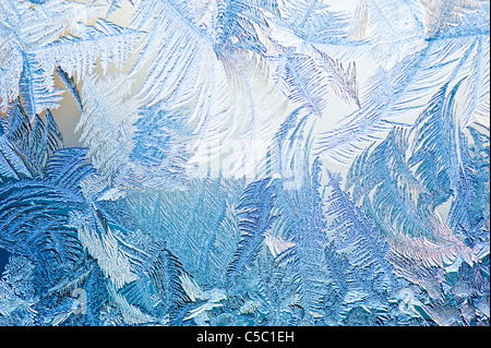 Background of ice crystals on window glass - Stock Photo