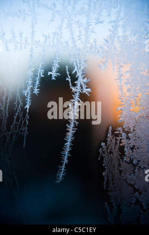 Close-up of frost on window - Stock Photo