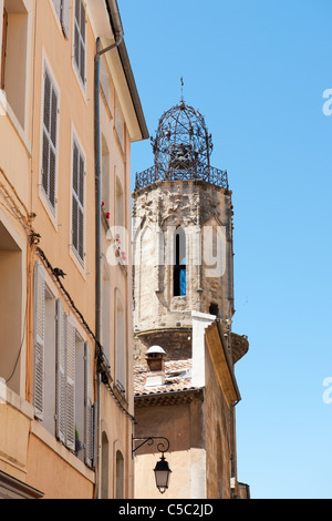 ancient church tower in the French city Aix-en-Provence - Stock Photo