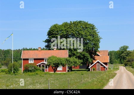 Dirt road along fields with farm houses and trees against clear blue sky - Stock Photo
