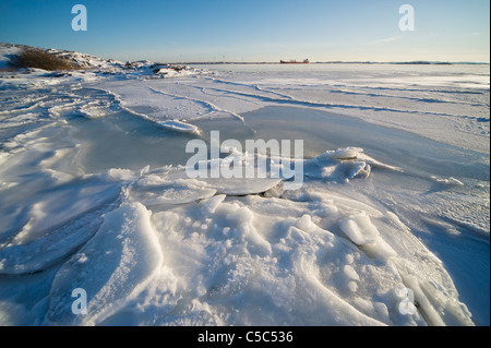View of a peaceful and scenic ice beach against clear sky - Stock Photo