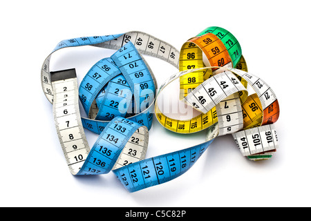 Colorful tape measure isolated on white background - Stock Photo