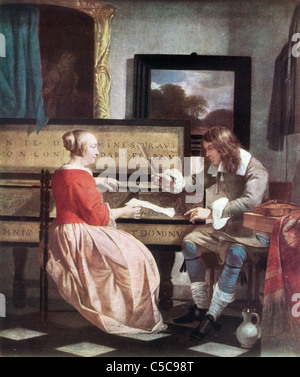 Painting by Gabriel Metsu, Late Dutch School; 'The Music Lesson' - Stock Photo