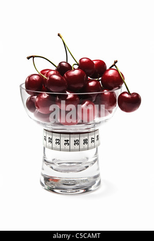 Red Cherries in Glass Dish with Tape Measure - Stock Photo