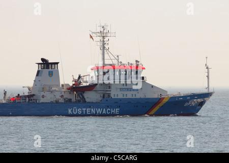 German coast guard on North Sea near Cuxhaven - Stock Photo