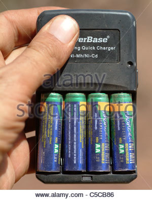 Camping equipment used by explorer Kypros in Africa - battery charger - Stock Photo