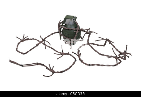Green retro military grenade for blowing up things wrapped in barbed wire - path included - Stock Photo