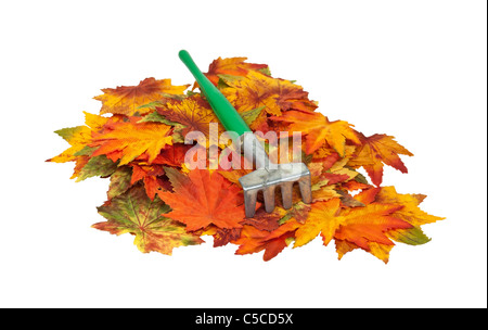 Metal rake on a pile of colorful fall leaves - path included - Stock Photo