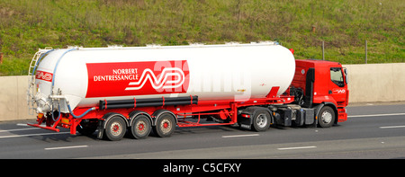 Norbert Dentressangle articulated bulk carrier tanker trailer and hgv lorry truck French transport business driving - Stock Photo
