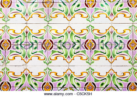Hand painted Azulejo tiles imported from Portugal on a building in Iquitos, Loreto, Peru - Stock Photo