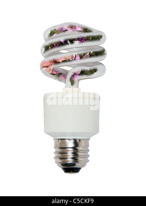 Holiday lighting with a winter wreath inside a spiral glass bulb lightbulb used to light a room efficiently - Stock Photo
