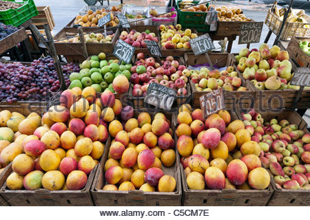 Mangoes and fruit for sale at a street market, Trujillo, La Libertad, Peru - Stock Photo