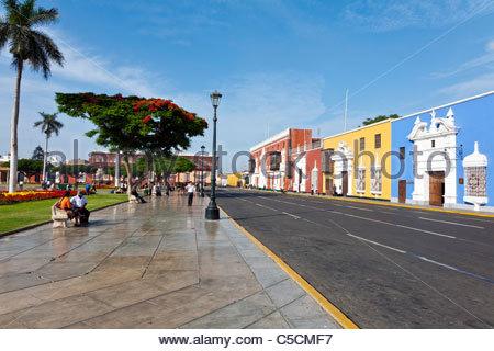 Colorful colonial mansions line the Plaza de Armas in Trujillo, La Libertad, Peru - Stock Photo