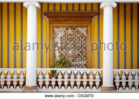 Window and balcony in the courtyard of the Palacio Iturregui colonial mansion, Trujillo, La Libertad, Peru - Stock Photo