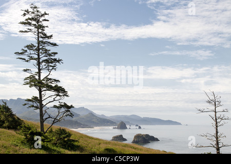 Cannon Beach Haystack Rock from Ecola State Park - Stock Photo