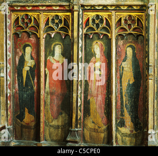 Gateley, Norfolk, rood screen with 4 painted female figures, 15th century, St. Etheldreda, St.Elizabeth, The Bleesed - Stock Photo