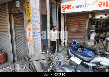 Street scene in Ahmedabad, India - Stock Photo