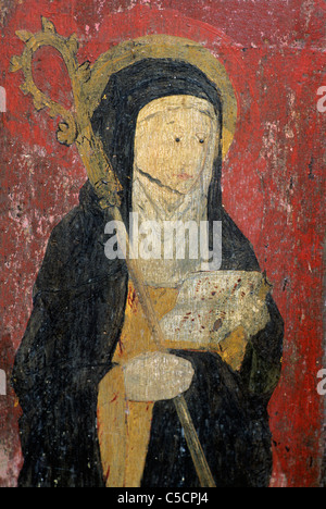 Gateley, Norfolk, rood screen, detail of St. Etheldreda, 15th century painting paintings screens church interior - Stock Photo