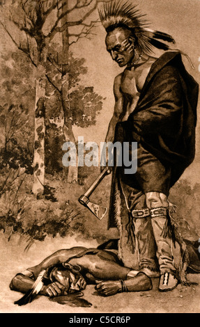 Illustration Of A Native American Indian Chief Viewed From