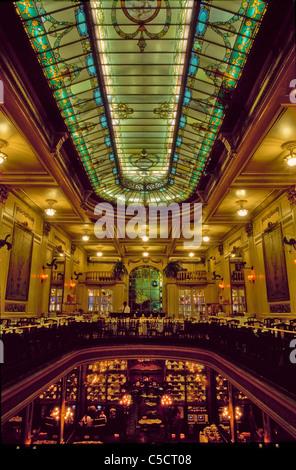 Opulent interior of art nouveau cafe Confeitaria Colombo in downtown Rio de Janeiro, Brazil, South America. - Stock Photo