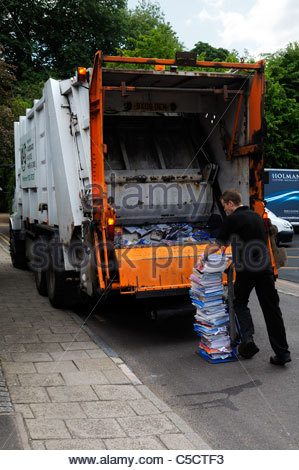 Paper recycling collection at Wimborne Minster in Dorset, England - Stock Photo