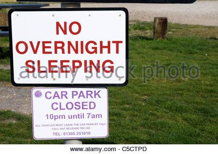 Car park signs, West Bay, Dorset England - Stock Photo