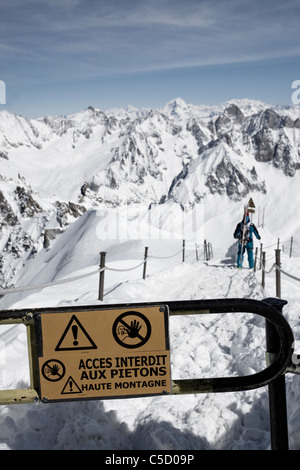 Close-up of a warning sign in the Alps - Stock Photo