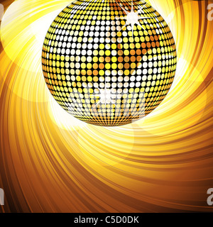 sparkling gold disco ball on a swirling background with glowing circles - Stock Photo