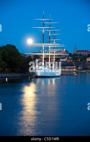 Mid distance of Al Chapman in peaceful lake at moonlight, Stockholm, Sweden - Stock Photo