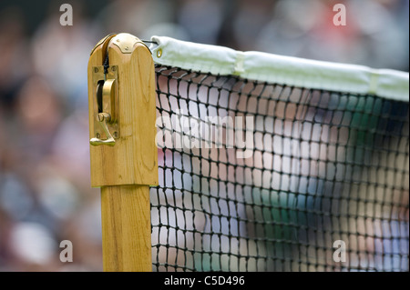Net and post detail during the 2011 Wimbledon Tennis Championships - Stock Photo