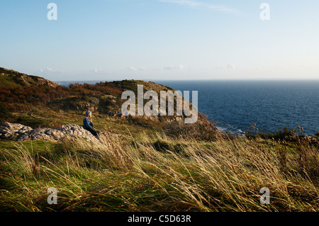 Mid distance side view of a girl sitting on rock along long grass by peaceful sea - Stock Photo