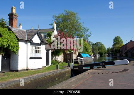 Canal lock at Stourport basins, Stourport-on-Severn, Worcestershire, May, 2011 - Stock Photo