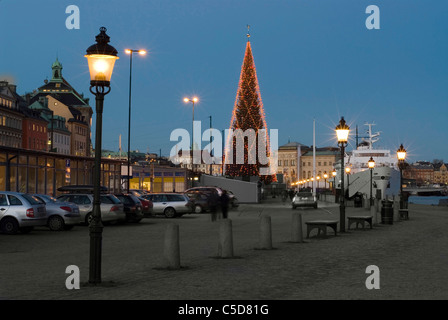 Lit lampposts and parked cars with decorated Christmas tree against clear blue sky in the background - Stock Photo