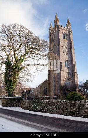 England Devon Widecombe in the Moor St. Pancras' Parish Church in snow - Stock Photo