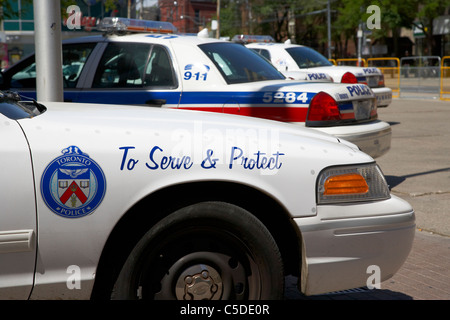 toronto police squad cars outside police station in downtown toronto ontario canada - Stock Photo
