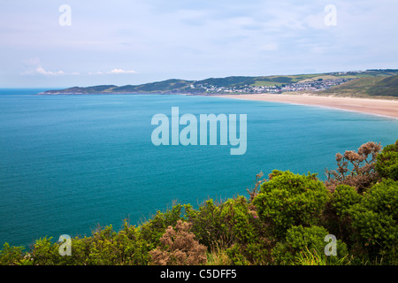 View towards Woolacombe and Woolacombe Sands taken from the coastal path near Croyde, North Devon, England, UK - Stock Photo