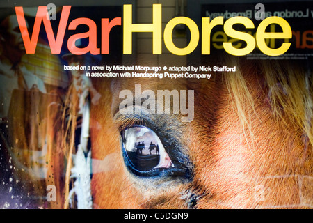 A Billboard Advertising the West end Show War Horse - Stock Photo