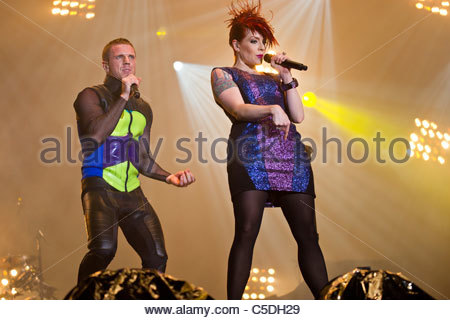 Scissor Sisters performing live - Jake Shears and Ana Matronic - Stock Photo