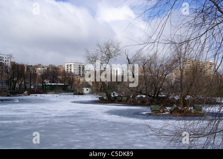 Winter landscape in the Moscow zoo - Stock Photo