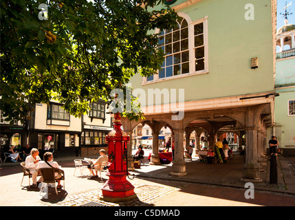 The Ornamental water pump in Faversham Market Place by the Guildhall - Stock Photo