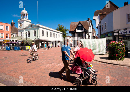 The Market Place in Faversham Kent on a sunny Day in Summer with the Guildhall in the background. - Stock Photo