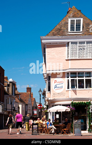 View from Market Place down West Street in Faversham Kent - Stock Photo
