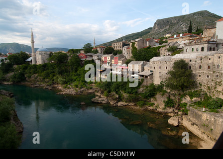 Old town Mostar with Koskin-Mehmed Pasha mosque and Neretva river, Bosnia and Herzegovina - Stock Photo