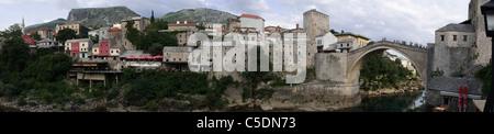 Mostar, Panorama, Old historic town and Old Bridge, Neretva River, Bosnia and Herzegovina - Stock Photo