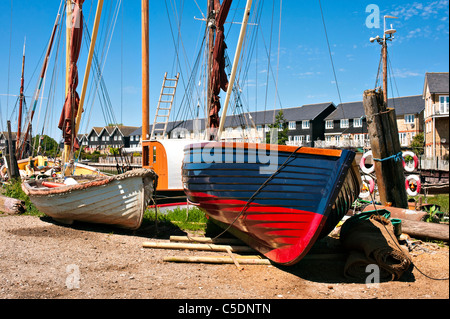 Wooden Boats on the Quayside at Faversham in Kent - Stock Photo