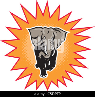 illustration of an african elephant charging halftone dots set inside exploding balloon done in retro style - Stock Photo