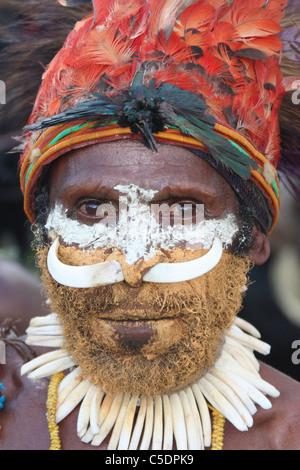 Tribesman of Papua New Guinea - Stock Photo