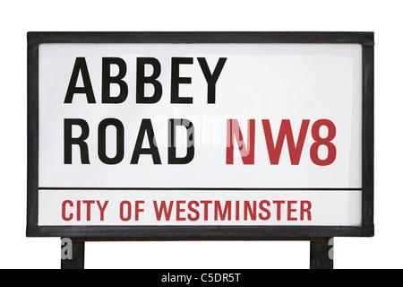 Abbey Road Sign, London, England, United Kingdom - Stock Photo